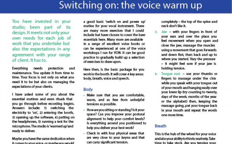 Switching on: the voice warm up